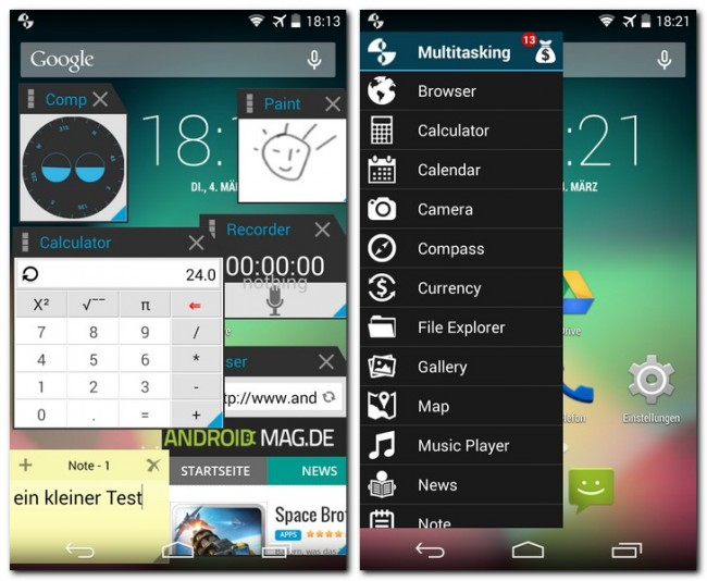"""Die Leiste mit den verfügbaren """"Multitasking""""-Apps lässt du erscheinen, indem du den Finger vom linken Bildschirmrand zur Mitte ziehst."""