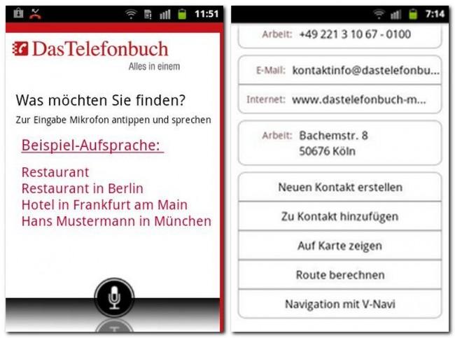 Neben herkömmlichen Telefonbuch-Funktionen können auch POIs wie Restaurants oder Cafés gesucht werden.