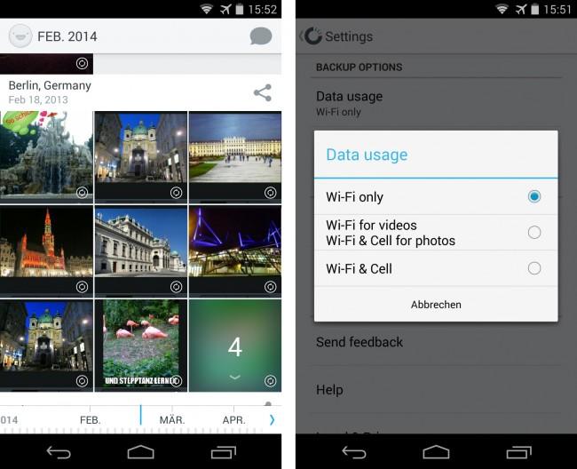 Die App Carousel zeigt die Fotos und Videos an, die sich auf der Speicherkarte deines Smartphones und in deinem Dropbox-Ordner befinden. Du darfst festlegen, ob das Programm die Dateien lediglich per WLAN oder auch per Mobilfunk synchronisiert.