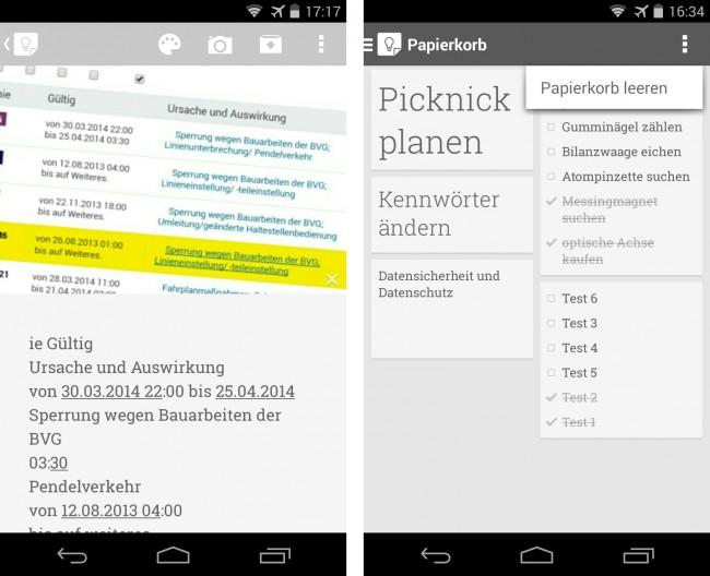 """Die App """"Google Notizen"""" ist nun in der Lage, Texte zu erkennen, die sich auf Fotos befinden. Die zweite Neuerung ist der Papierkorb, den die App nach sieben Tagen automatisch leert."""