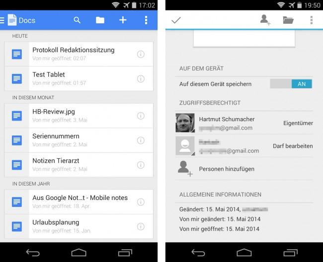 """Die Programme können ihre Dateien sowohl direkt auf dem Smartphone als auch im Cloud-Speicher """"Google Drive"""" ablegen. Du darfst angeben, welche Anwender die Dateien betrachten oder bearbeiten dürfen."""