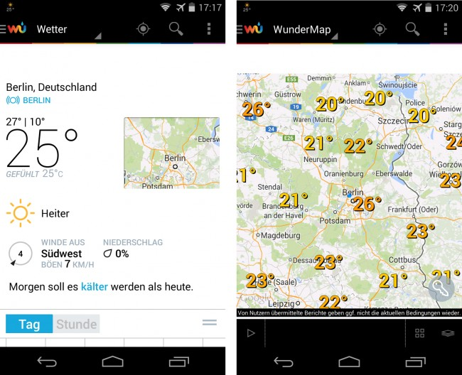 Die App Weather Underground bezieht ihre Daten nicht nur von staatlichen und von kommerziellen Wetterstationen, sondern auch von Stationen, um deren Betrieb sich Privatpersonen kümmern.