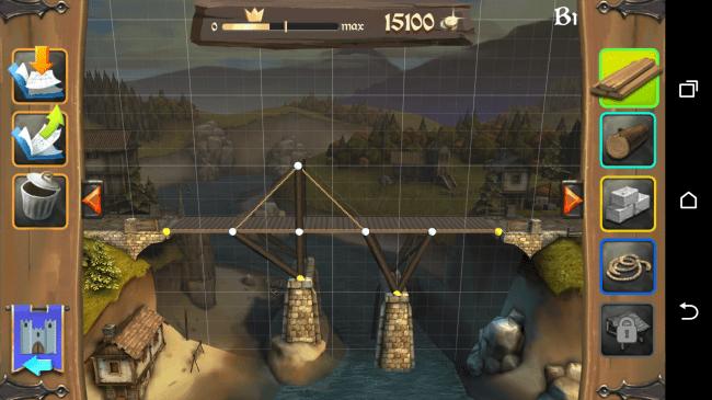 Mit Hilfe von Stein- oder Holzsäulen, Seilen und Brettern sollst du eine sichere Brücke konstruieren.