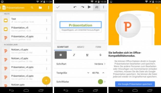 Mit Google Präsentationen hat Google jetzt auch einen eigenständigen PowerPoint-Konkurrenten nachgereicht. (Bild: Android Next)