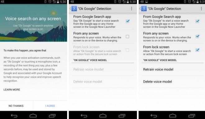 Die Google Such-App hört in Version 3.4.14 innerhalb jedes Bildschirms aufs Wort. (Bild: Android Next)