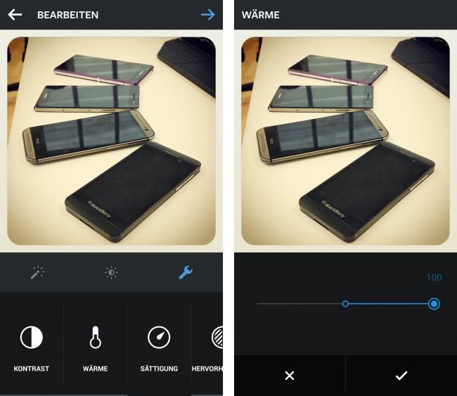 Dank der neuen Funktionen kannst du jetzt auch Helligkeit, Kontrast sowie weitere Eigenschaften des Fotos verändern.