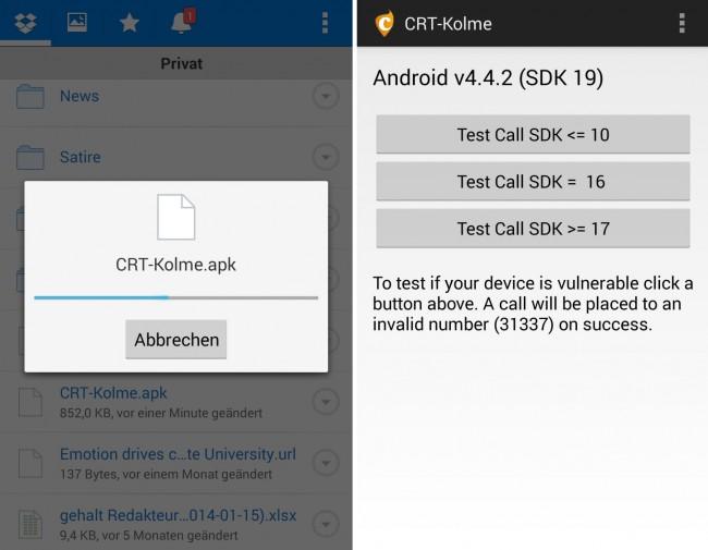 Die App CRT-Kolme (gesprochen wie Call me) testet, ob dein Handy betroffen ist oder nicht.