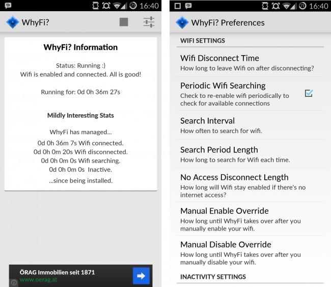 WhyFi zeigt auf dem Startbildschirm sogar interessante Statistiken an.