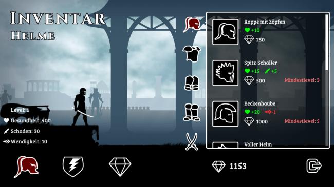 Im Shop kannst du deinen Charakter mit neuen Waffen und Rüstungen ausstatten.
