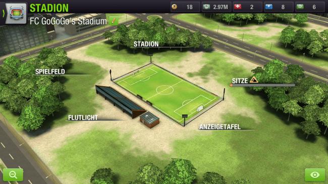 Mach aus dem gewöhnlichen Fußballplatz ein großes Stadion, in dem dich deine Fans anfeuern können.