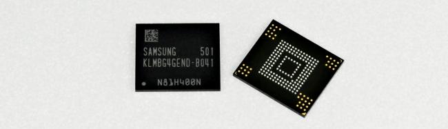 """Das neue """"Embedded Package on Package""""-Modul von Samsung enthält einen 3 GByte großen Arbeitsspeicher, einen 32 GByte großen Massenspeicher und auch einen Speicher-Controller. (Foto: Samsung Electronics)"""
