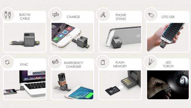 Der WonderCube ist imstande, den Akku des Smartphones aufzuladen, über USB Daten mit einem PC auszutauschen und den Speicher des Smartphones zu entlasten. (Foto: WonderCube)