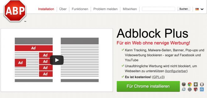 Das Ende von AdBlock Plus & Co.? Das Startup Sourcepoint will Werbeblocker technisch austricksen. (Bild: AdBlock Plus/Eyeo GmbH)