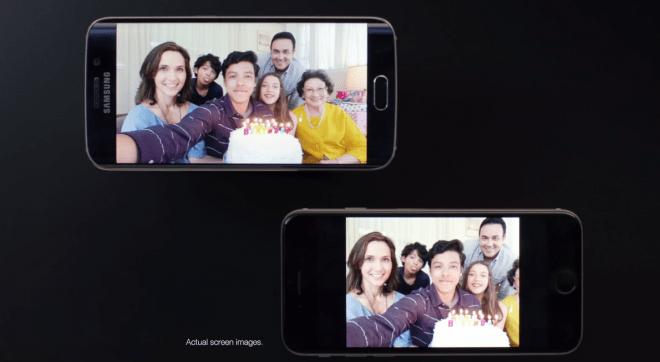 Die arme Großmutter: Das iPhone 6 schneidet sie laut Samsung beim Selfie einfach heraus.