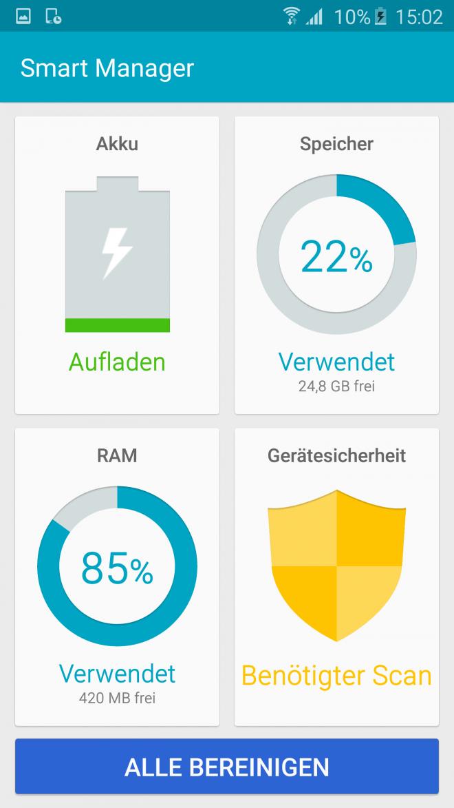 Akku, RAM, Speicherplatz: Mit dem Smart Manager haben Sie alle wichtigen Daten auf einen Blick.