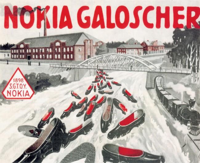 Sozusagen die ersten Wearables von Nokia: Gummischuhe – hier auf einem Werbeplakat aus dem Jahr 1905. (Foto: Nokia)