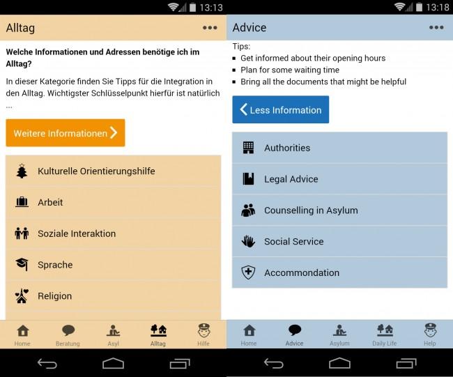"""Die """"Welcome App Germany"""" informiert Flüchtlinge über das Leben in Deutschland – unter anderem über Behörden, Sitten, Ausbildungsmöglichkeiten und öffentlichen Nahverkehr."""