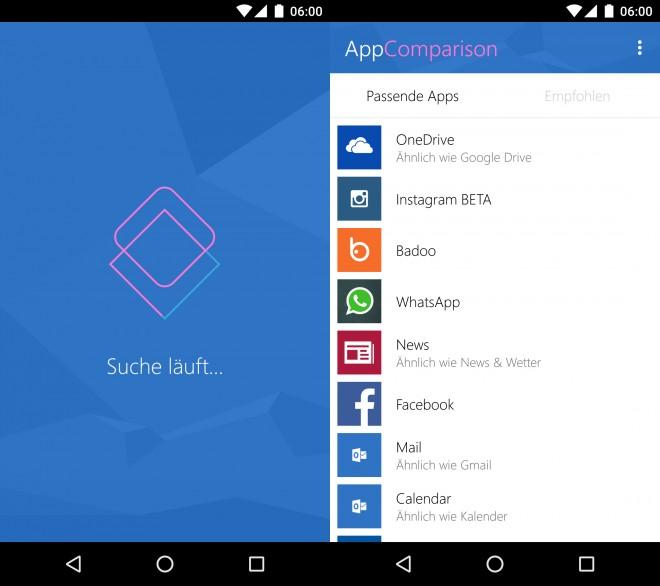 Zunächst werden alle installierten Apps gescannt, dann schlägt die App passende Gegenstücke oder Alternativen von Drittanbietern vor. (Bild: Android Magazin)