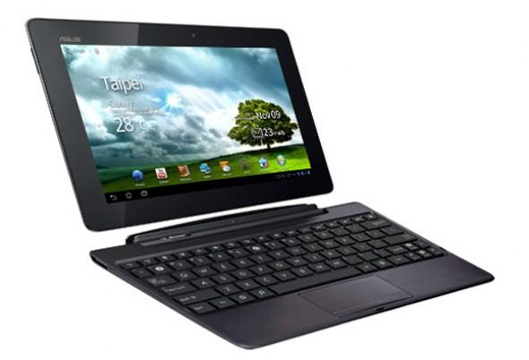 Das Asus Transformer Prime, das aktuelle Spitzenmodell von Asus, lässt sich mit einem Tastaturdock zum Netbook umwandeln. Foto: Asus.