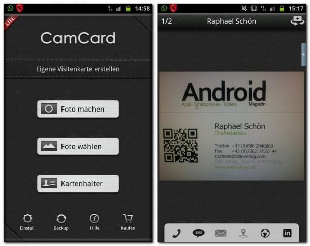 Mit Camcard lassen sich Visitenkarten ganz einfach Fotographieren und abspeichern.