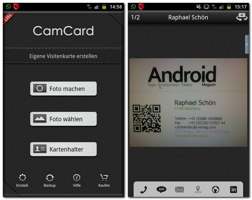 Camcard Lite Im Test Android Magazin