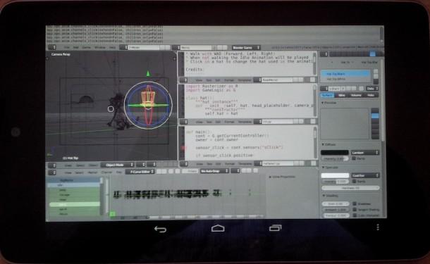 Die Blender Anwendung auf einem Nexus Tablet. Foto: blenderartists.org.