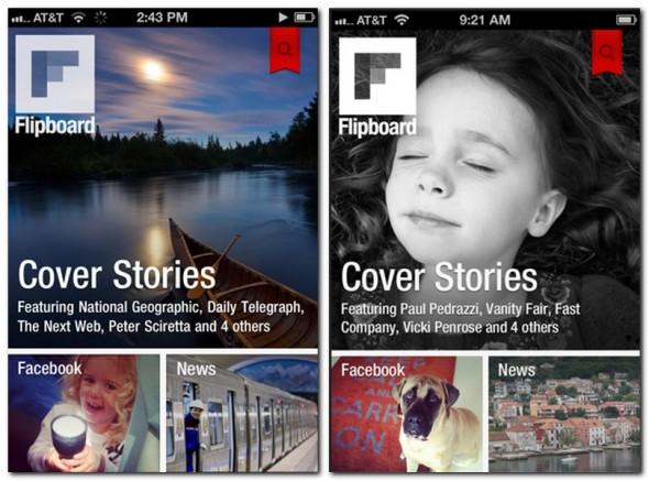 Flipboard zeigt Inhalte aus Facebook, Twitter und anderen Newsquellen übersichtlich an.