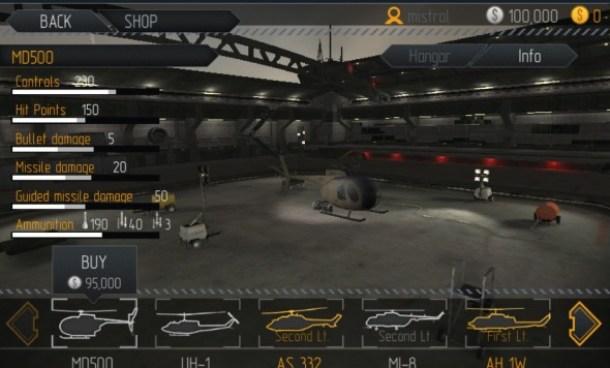 Im Hangar können die Kampfhubschrauber mit diversen Upgrades aufgerüstet werden