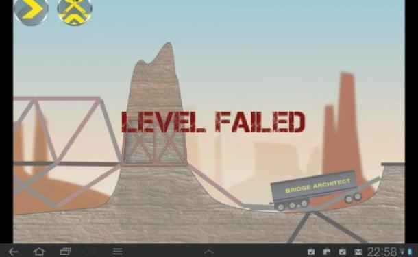 Hält die Brücke den Belastungen nicht stand ist das Level verloren.