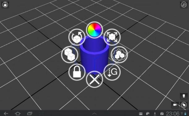 Für die 3D Objekte sind verschiedene Farben und Formen wählbar.