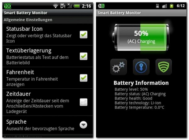 Der Smart Battery Monitor gibt detailliert Auskunft über den Zustand des Akkus. Die Prozentanzeige in der linken oberen Bildschirmecke lässt sich ausblenden.