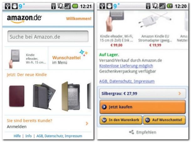 Hier die Startseite von Amazon Mobil. Den Kindle eReader gibt´s bei Amazon zum Preis von 99 Euro - und er kann auch mit dem Smartphone bestellt werden, vorausgesetzt, man hat die Amazon Mobile-App installiert.