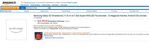 Amazon verrät den Preis des Samsung Galaxy S3.