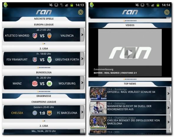 Im Menü findet man alle nötigen Informationen rund um das Thema Fußball.