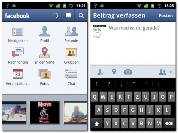 Der Startscreen von Facebook: Über die verschiedenen Symbole sind alle Funktionen erreichbar. Darunter erscheinen aktuelle Fotos von Freunden.