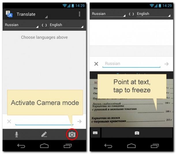 Google Translate übersetzt dank einem Update nun auch Texte per Kamera. Foto: Google.