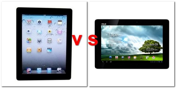 iPad vs Asus Transformer Prime (BQ: ASUS, handytestberichte.com)