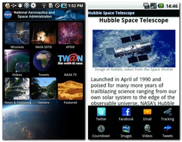 Die kostenlose NASA App versorgt Weltraum-Fans mit Neuigkeiten, Fotos, Videos und Klingeltönen. Zu den diversen NASA-Missionen lassen sich ausführliche und illustrierte Beschreibungen abrufen.