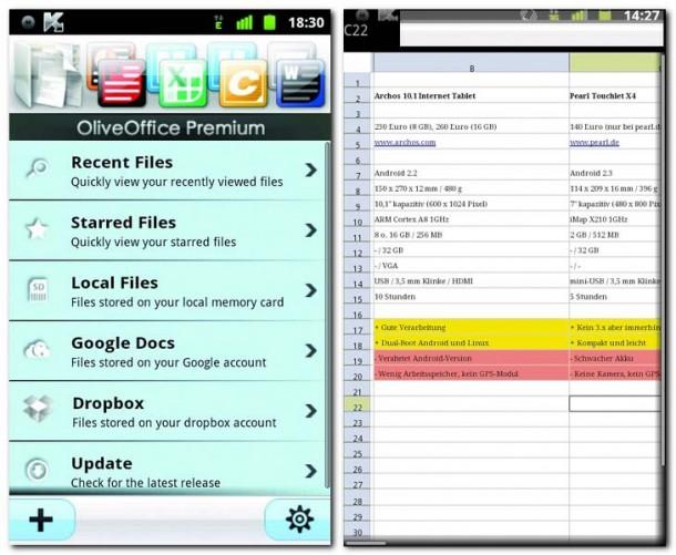Die Entwickler von OliveOfficeEditor haben sich in Sachen Optik bei DocumentsToGo etwas inspirieren lassen. Die App läuft aber lange nicht so rund, wie die kostenpflichtige Konkurrenz.