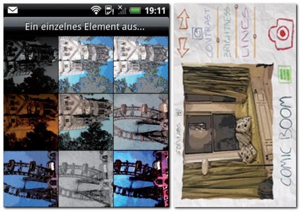 Für jeden der 11 Filter kann man Kontrast, Helligkeit und Strichstärke einstellen. Mit der Paper Camera kann man die Umgebung in ein Comic-Bild oder in ein Aquarellgemälde verwandeln.