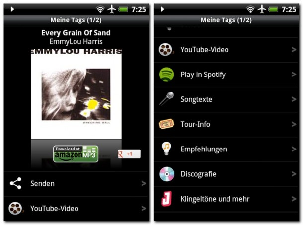 Die Musik-Erkennungsfähigkeiten dieser App sind sehr praktisch.