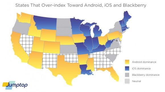 Verbreitung des mobilen Betriebssystems in den USA, Quelle: Jumptap