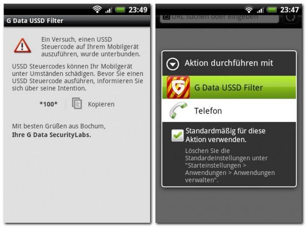 Die App G Data USSD Filter schützt Ihr Smartphone vor bösartigen Steuerungs-Codes in Internet-Links.