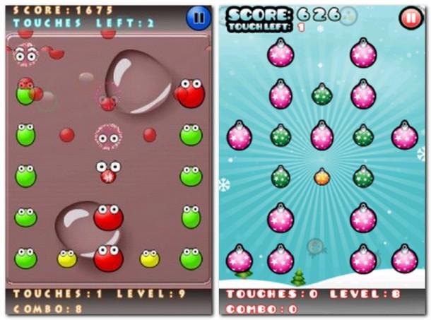 Und Plopp: Beim Antippsen zerbersten die roten Blasen in alle vier Himmelsrichtungen (Bild links).