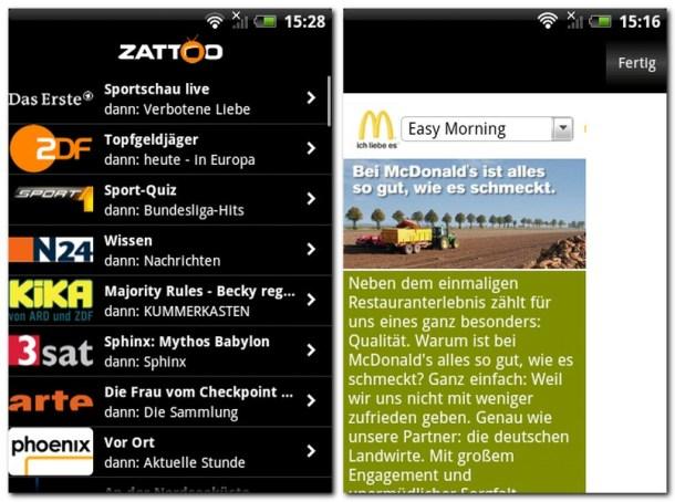 Zattoo Sender und Werbung