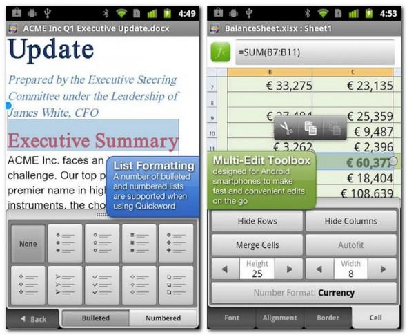 Mit Qick Office lassen sich Office Dokumente wie Word und Excel Dateien auf dem Smartphone bearbeiten. Foto: Qickoffice.