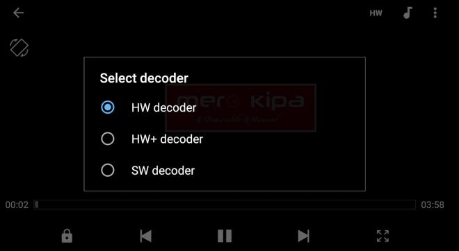 Choosing between HW, HW+ and SW decoder