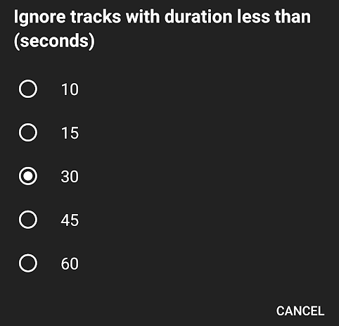 Ignore Track Duration