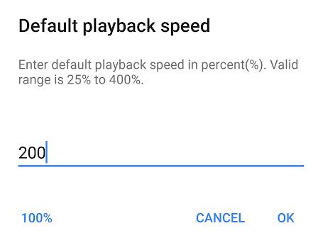 Default Playback Speed