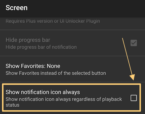 Uncheck Show notification icon always